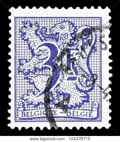 BELGIUM - CIRCA 1970 : Cancelled postage stamp printed by Belgium, that shows lion and numeral of value.