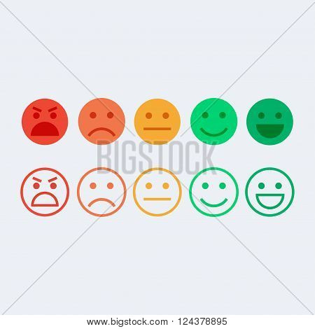 Feedback vector concept. Rank level of satisfaction rating. Feedback in form of emotions, emoji. User experience. Customer feedback. Review of consumer. Feedback flat icon.