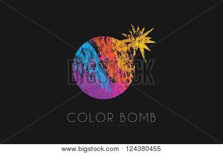 Bomb logo. Color bomb logo. Creative logo