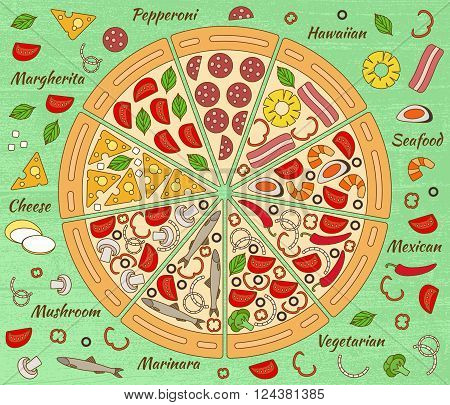 Background with pizza pieces and its ingredients. Vector illustration