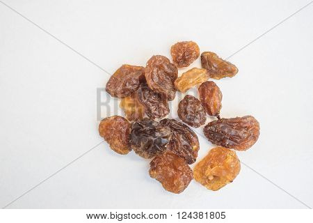Raisins, currents, sultanas isolated on a white background