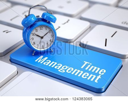 Time management concept - computer keyboard with words Time Management and alarm clock. 3d rendering