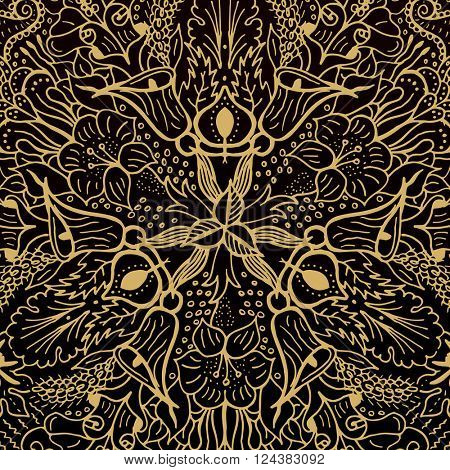 Vector abstract floral geometric background gold and black shaped ornate elements with ethnic patterns. Style flowers mandala pattern in vintage design