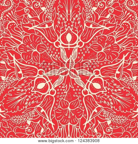 Vector abstract floral geometric background red and white shaped ornate elements with ethnic patterns. Style flowers mandala pattern in vintage design