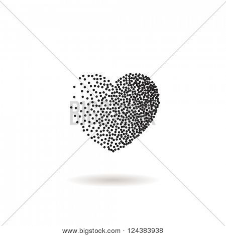 Vector heart shape snow. Black dots and confetti heart. Symbol and logo heart. Winter Valentines day snow heart with dots or flakes of various size. New Year, Christmas black and white background.