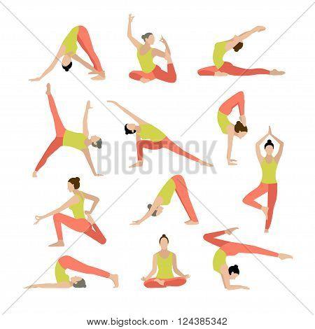 Vector yoga illustration Yoga set Yoga exercises Women yoga Yoga class yoga center yoga studio Yoga poster Sketch with yoga asana Girl does yoga exercises Healthy lifestyle. Vector.