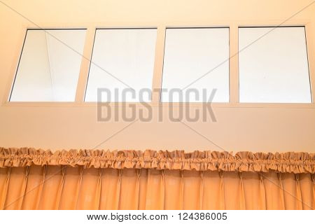 Interior of simply classic room with curtain stock photo