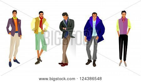 Vector illustration of a five fashionable guys