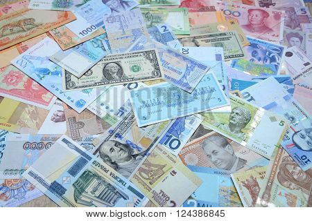 Background from paper money of the different countries.