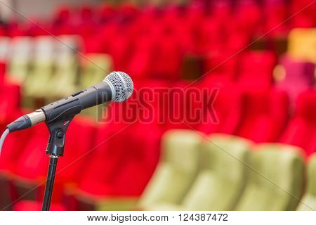 Close Up Of Microphones In Theatre Or Conference Hall
