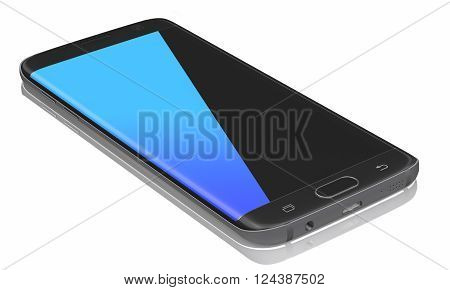 Black Smartphone Edge with blue and black touchscreen on white background.