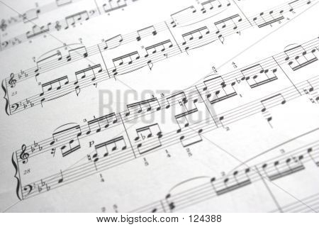 Music Score Background With Shallow Depth Of Field