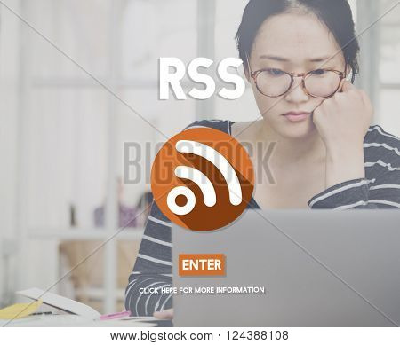 RSS Online Networking Signal Symbol Concept