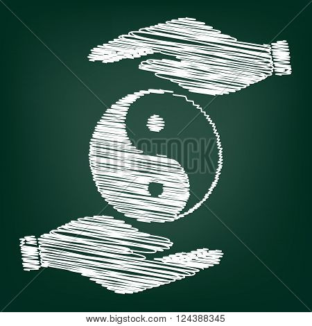 Ying yang symbol of harmony and balance. Flat style icon. Black vector illustration.