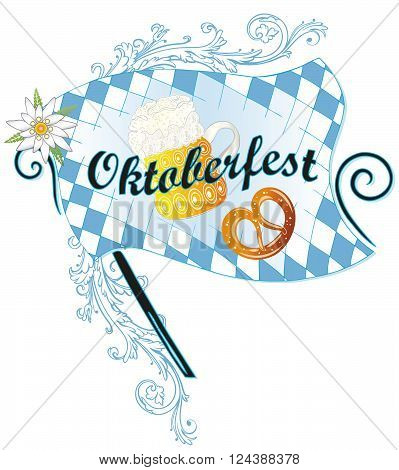 Oktoberfest banner with lettering pretzel and beer.