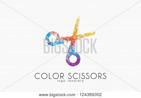 Scissors logo. Color scissors logo design. Creative logo