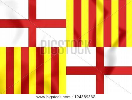 Flag Of Barcelona City, Spain.