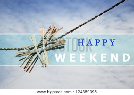 Happy weekend quote design poster stock photo
