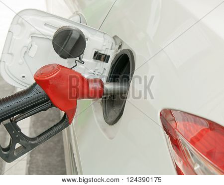 add fuel, Petrol manual car, He pumps gasoline