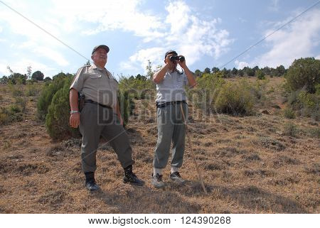 ANKARA/TURKEY-JULY 17, 2014: Forest guards on duty at nature reserve area of Emremsultan Nallihan. July 17, 2014-Ankara Turkey