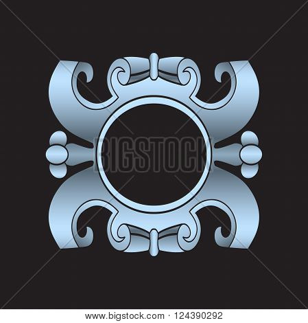 Vector vintage border frame labels design element page decorations. Silver cartouche