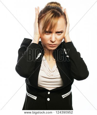 Businesswoman terrified hold hand on head