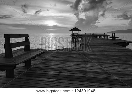wood bridge at the beach seaside ,Thailand.