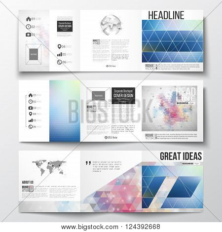 Vector set of tri-fold brochures, square design templates. Abstract colorful polygonal background with blurred image on it, modern stylish triangle vector texture.