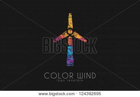Wind logo. Wind power logo design. Creative logo design. Energy Windmill. Energy logo