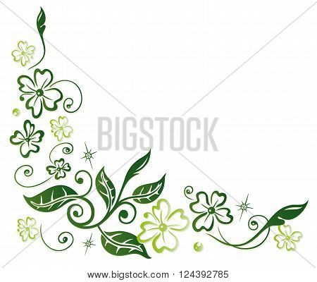 Colorful clover tendril with leaves, Silvester decoration.
