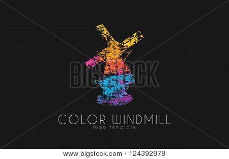 Windmill Logo.Color windmill logo design. Creative logo