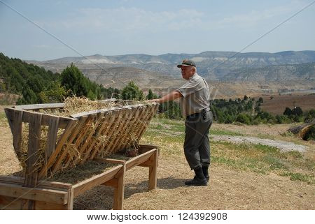 ANKARA/TURKEY-JULY 17, 2014: Forest guard on duty at nature reserve area of Emremsultan Nallihan. July 17, 2014-Ankara Turkey