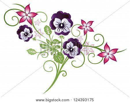 Beautiful summer flowers, pink and purple pansy.