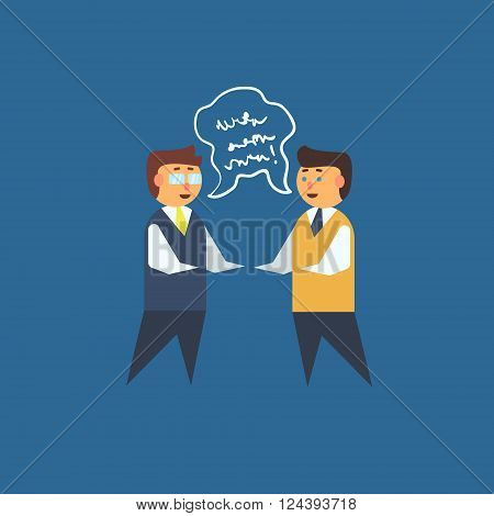 Two Man Having Discussion Primitive Graphic Style Flat Vector Icon On Blue Background