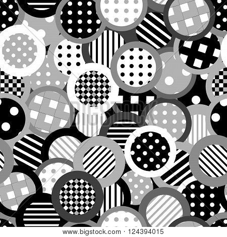 Black and white background with patterned circles