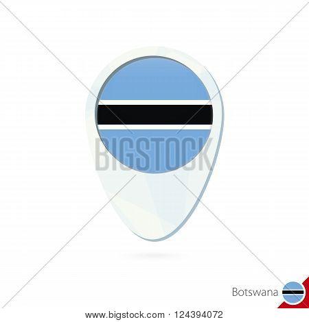 Botswana Flag Location Map Pin Icon On White Background.
