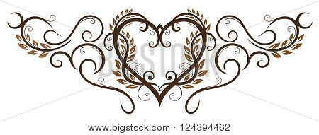 Vector design with cereal and bread. Heart decoration for bakers