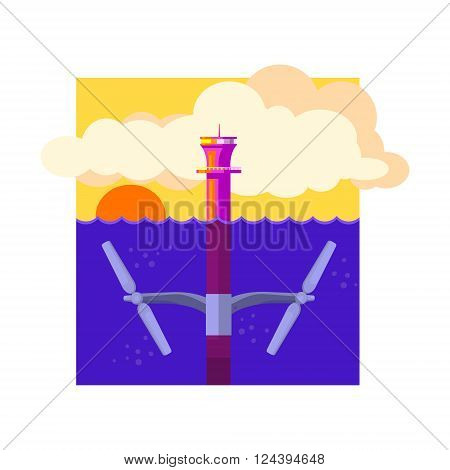 Alternative Energy Tidal Power Flat Vector Illustration In Simplified Style