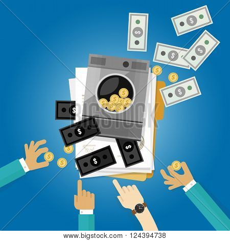 money laundry laundering crime dollar clean symbol illustration flat vector