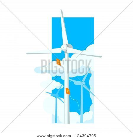 Alternative Energy Wind Farm Flat Vector Illustration In Simplified Style