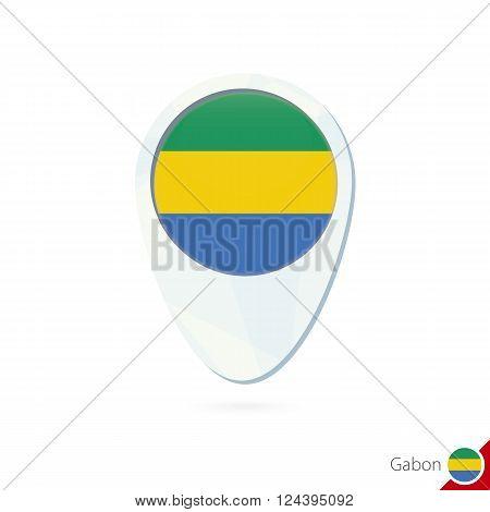 Gabon Flag Location Map Pin Icon On White Background.