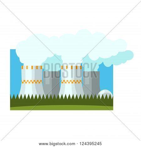 Industrial Chimneys Illustration Flat Vector Illustration In Simplified Style
