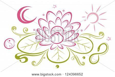 Lotus flower, beautiful waterlily, floral vector decoration with infinity and moon.