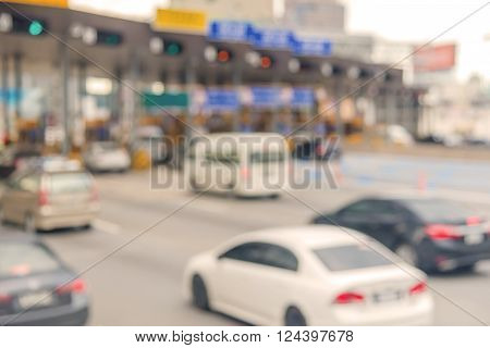 blurry of car in Toll collecting on the expressway in Bangkok Thailand