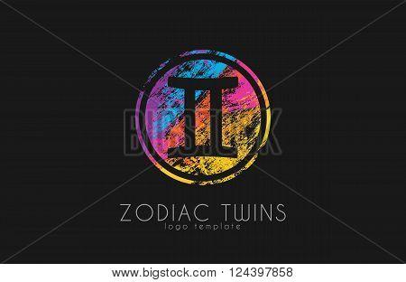 Zodiac twins logo. Twins symbol logo. Creative logo
