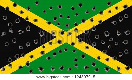 Flag of Jamaica, Jamaican Flag painted on wall with bullet holes