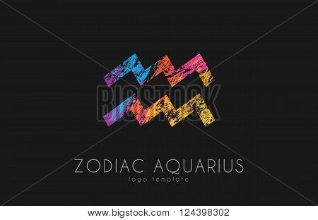 Horoscope symbol. Zodiac aquarius logo. Zodiac logo