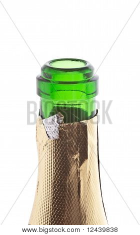 neck of a champagne bottle isolated