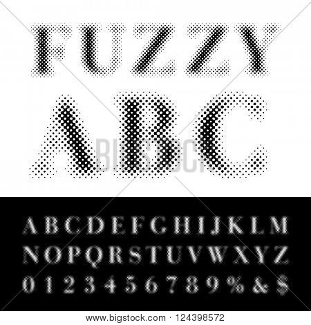 vector dotted halftone fuzzy raster font