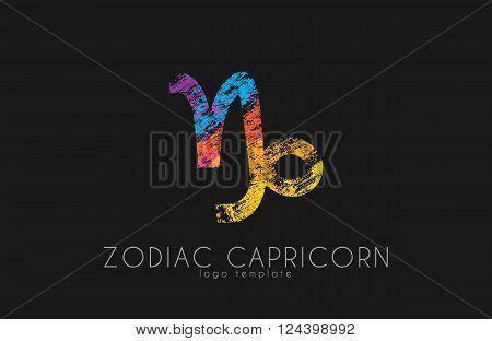 Zodiac capricorn logo. Sea-goat symbol. Zoiac sea-goat